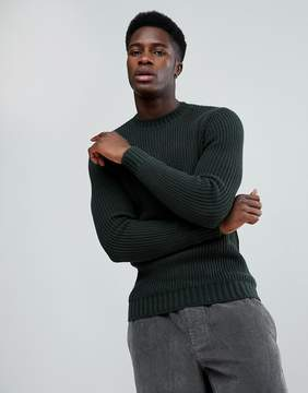 MANGO Man Chunky Knit Sweater In Forest Green