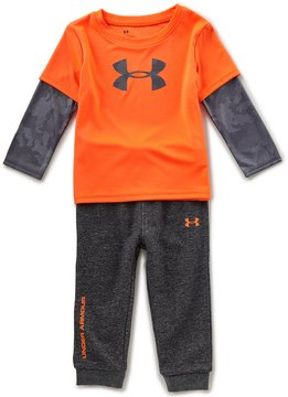 Under Armour Baby Boys 12-24 Months Color Block Two-Fer Tee & Solid Pant Set