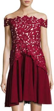 Shoshanna Off-The-Shoulder Combo Lace Cocktail Dress
