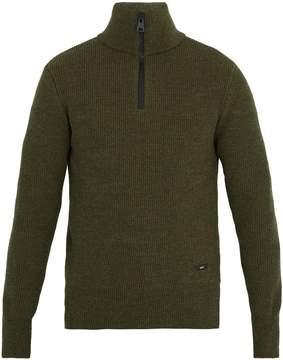 Ami Half-zip ribbed-wool sweater