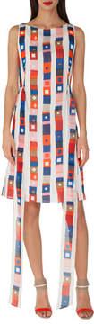 Akris Sleeveless Super-Stripe Photo-Print Silk Carwash Dress