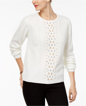 Alfred Dunner Eskimo Kiss Embellished Chenille Sweater