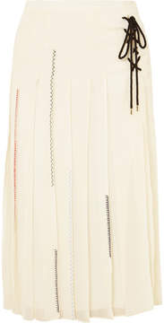 Carven Lace-up Pleated Silk-chiffon Midi Skirt - Cream