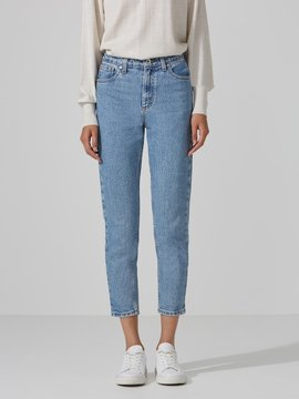 Frank and Oak The Stevie High-Waisted Tapered Jean in Light Indigo