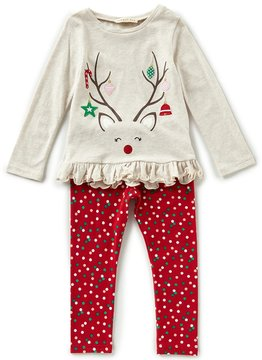 Copper Key Little Girls 2T-4T Christmas Reindeer Top & Dotted Leggings Set