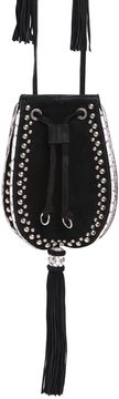 Studded Suede & Snakeskin Bucket Bag