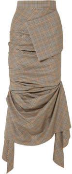 Awake Asymmetric Gathered Plaid Wool Midi Skirt - Gray