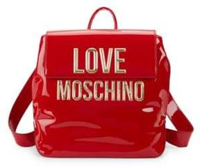Love Moschino Logo Faux Patent Backpack