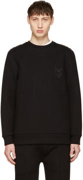Neil Barrett Black Neoprene Military Sweatshirt