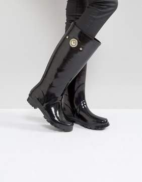 Versace Patent Welly Boot With Gold Button Detail