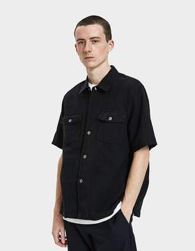 Our Legacy Chamois Short Sleeve Shirt in Black Cotton/Linen