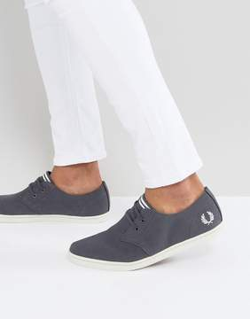 Fred Perry Byron Low Twill Sneakers in Charcoal