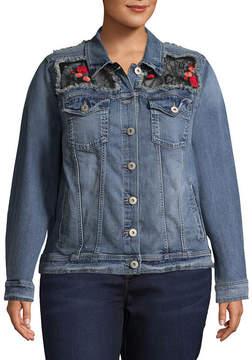 Arizona Lace Patch Denim Jacket-Juniors Plus