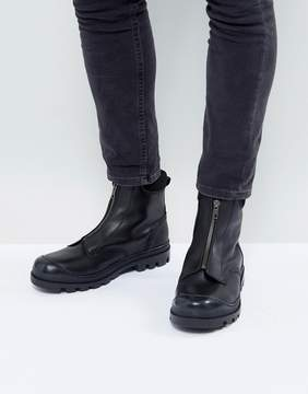 Asos Chelsea Boots In Black Leather With Front Zip Detail And Cleated Sole