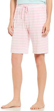Karen Neuburger Striped-Print Jersey Bermuda Sleep Shorts
