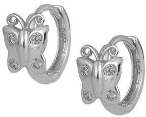 Ice Girls' Jewelry Silver Cubic Zirconia Butterfly Huggie Hoop Earrings