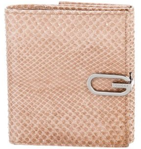 Gucci Snakeskin Compact Wallet - BROWN - STYLE