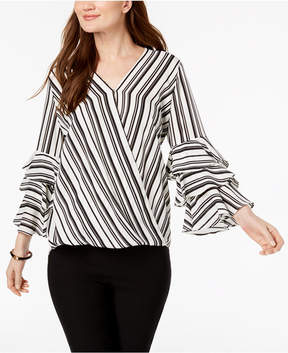 Alfani Striped Tiered-Sleeve Top, Created for Macy's