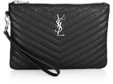 Saint Laurent Medium Monogram Silvertone Pouch - EARTH - STYLE