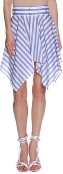 Francesco Scognamiglio Striped Handkerchief-Hem Skirt, White