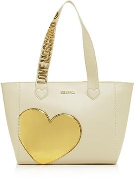 Love Moschino Metallic Heart Leather Tote