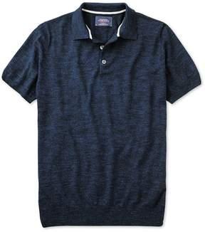 Charles Tyrwhitt Navy Blue Heather Short Sleeve Cotton Polo Collar Sweater Size Large