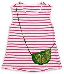 Jessica Simpson Girl's Striped Purse Pocket Tee
