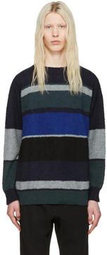 Sacai Navy and Grey Bouclé Sweater