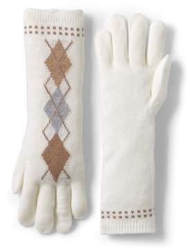 Lands' End Lands'end Women's Argyle Knit Long Gloves