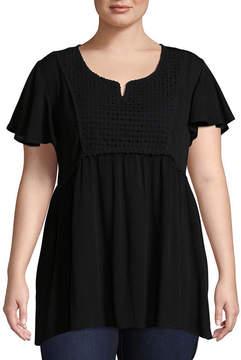 Boutique + + Short Sleeve Woven Blouse - Plus