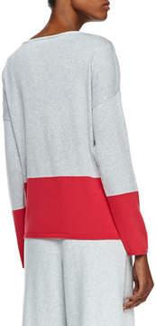 Joan Vass Long-Sleeve Colorblocked Cotton Top