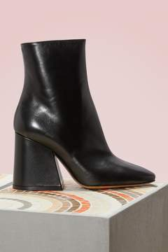 Maison Margiela Square Heel Leather Ankle Boots