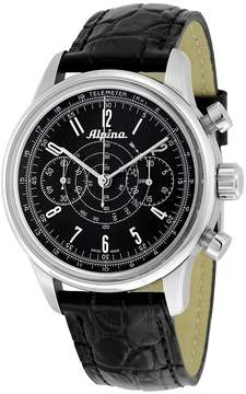 Alpina Heritage Pilot Chronograph Automatic Black Dial Black Leather Men's Watch