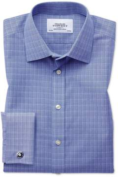 Charles Tyrwhitt Classic Fit Non-Iron Prince Of Wales Blue Cotton Dress Shirt French Cuff Size 15.5/34
