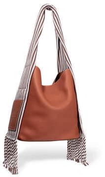 Loewe Scarf Striped Cotton-trimmed Textured-leather Shoulder Bag - Tan