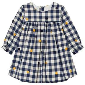 Absorba Navy Check and Embroidered Detail Dress