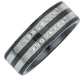 Armani Exchange Jewelry Mens 1/5cttw Diamond Double Row Band.