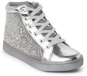 Nina Kids Girls) Silver Nano Embellished High Top Sneakers