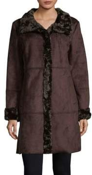 Ellen Tracy Faux Fur-Trimmed Coat