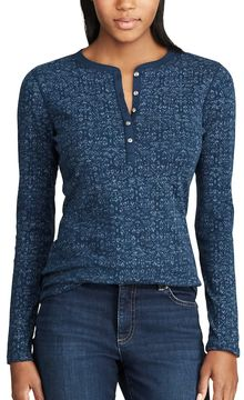 Chaps Women's Geometric Henley Top