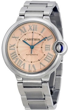 Cartier Ballon Bleu De Pink Dial Stainless Steel Watch