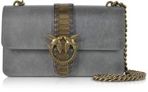 Pinko Dark Grey Love Python Western Shoulder Bag