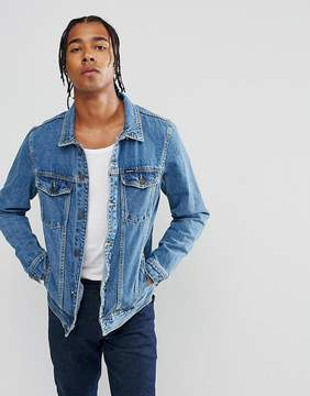 Pull&Bear Denim Jacket In Mid Wash