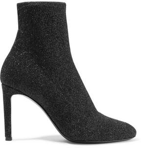 Giuseppe Zanotti Natalie Glittered Stretch-knit Sock Boots - Black