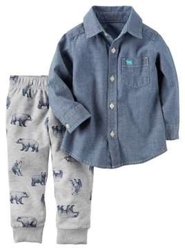 Carter's Toddler Boys Chambray Bear Pants Set 3T Denim blue/grey