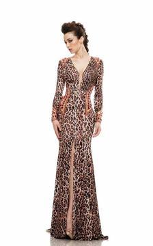 Johnathan Kayne 6087 Printed Deep V-neck Sheath Dress