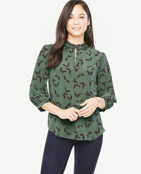 Ann Taylor Butterfly Silk Pleat Neck Blouse
