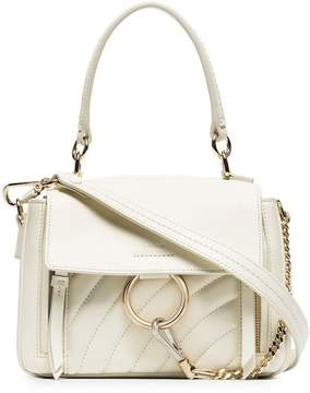 Chloé white faye day mini quilted leather shoulder bag