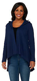 Denim & Co. Active Waffle Knit Drape FrontHoodie Cardigan