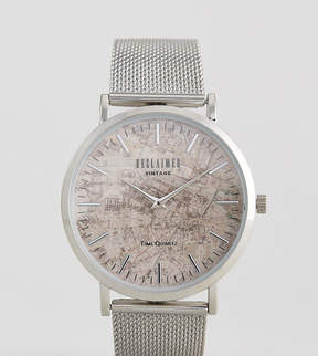 Reclaimed Vintage Inspired Paris Map Mesh Watch In Silver Exclusive To ASOS